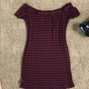 Ribbed knit maroon off the shoulder dress